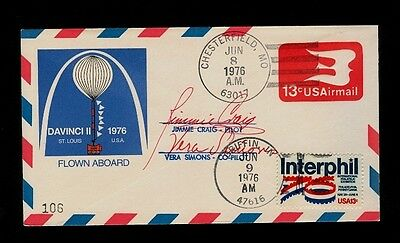June 8 1976 Project Da Vinci 2nd Flight Chesterfield MO - Griffin Indiana SIGNED