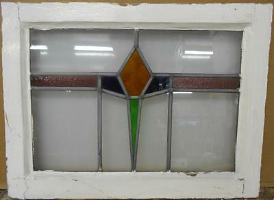 "MID SIZED OLD ENGLISH LEADED STAINED GLASS WINDOW Geometric Band 22.5"" x 17"""