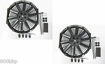 "2 x 11"" / 28cm Universal Radiator Electric Cooling Fans, Fitting Kits (Slimline)"