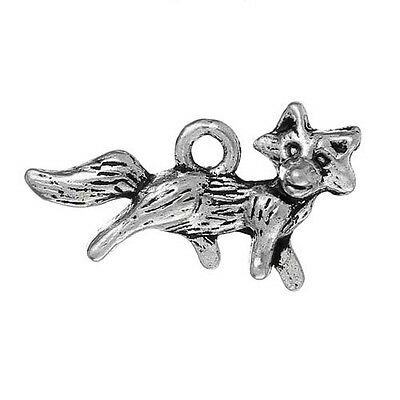 15 Fox Animal Fur Wild Antique Silver Charms Pendant 22mm x 13mm (671)