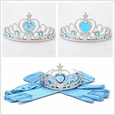 Cute Kids Fancy Gloves/Crown Elsa princess Girl Cosplay Costume Party Toy Gift