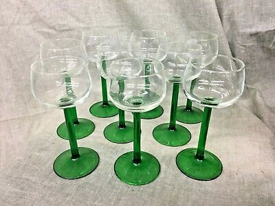 Set of 6 Green Stemmed Wine Glasses
