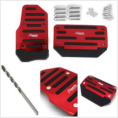 2 Pcs High Quality Red Automatic Autos Non-Slip Brake Foot Pedal Accelerator Pad