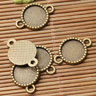 30pcs antiqued bronze color round cabochon setting in 10mm connector  EF3048