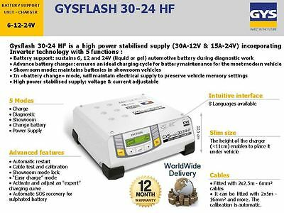 Gys Flash 30.24 6V 12V 24V New Battery Support Charger Unit Inverter Technology