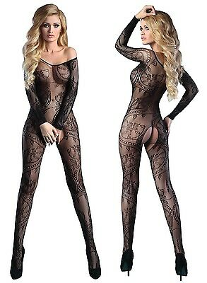 Bodystocking XL XXL schwarz Netzbody Body Stocking offen ouvert Overall Nylon