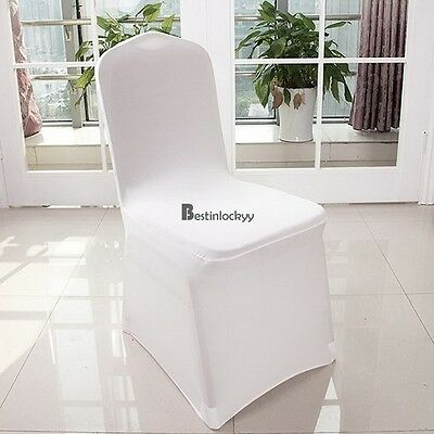 Hot 100pcs White Lycra Spandex Stretch Chair Covers Wedding Party Event Banquet