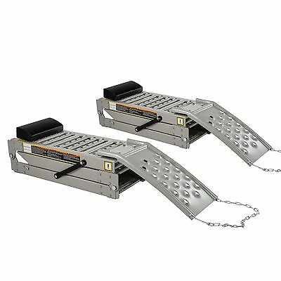 2 x Folding Steel Drive On Car/Vehicle Service/Inspection Ramps Inc Wheel Chock
