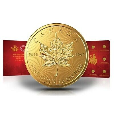 Maple Leaf Gold 1 g Maplegram 8 x 1 g Kanada diverse Jahrgänge Goldmünze