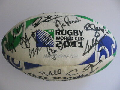 AUSTRALIA Wallabies 2011 Hand Signed 2011 World Cup  Rugby Ball + Photo Proof