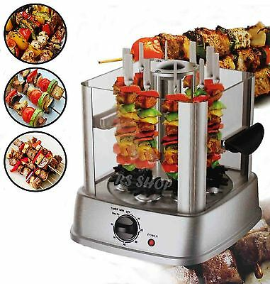 800W Halogen Rotating Vertical Grill Rotisserie Oven BBQ Kebab & Vegetables New