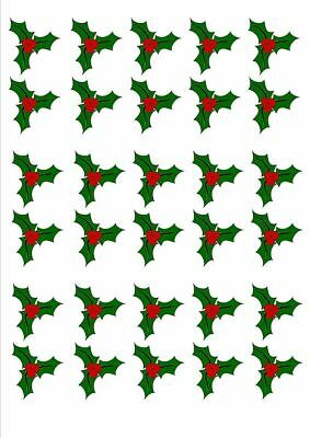 30 X Holly & Berry Leaves - Christmas - Edible Cupcake Cake Toppers X25