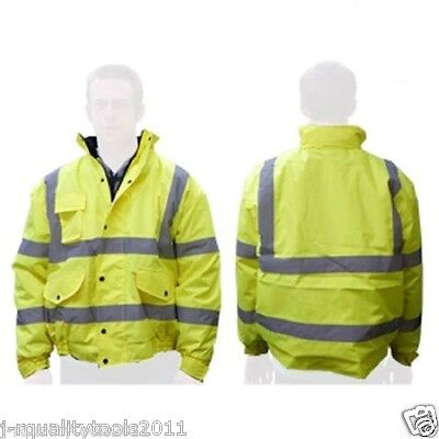 Hi-Vis Class 3 Safety Neon Jacket Reflective Coat Bomber Jacket Size: X Large