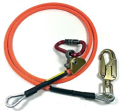 "Climb Right 5/8"" x 12' Steel Core Lanyard Kit Flipline 75243 Swivel Snap"