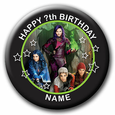 PERSONALISED DESCENDANTS BIRTHDAY BADGES/FRIDGE MAGNET/MIRRORS - 58MM or 77MM