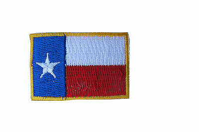 """Texas State Flag Patch Embroidery Iron On LONE STAR  Gold Border-Small 1-5/8"""""""