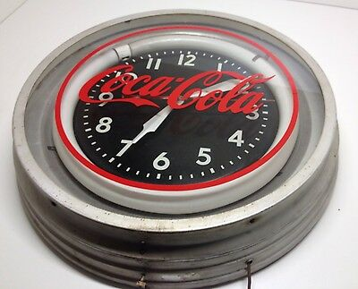 "Vintage Large 22"" Coca Cola Lighted Clock 50s Diner Clock Very Cool Mancave Bar"