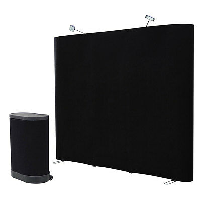 8' Black Straight Pop Up Display Trade show Booth Spotlight Podium Case Exhibit