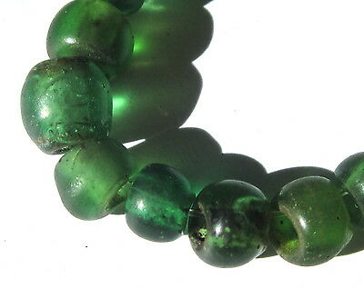 19 Rare Old Small Translucent Green African Trade Padre Glass Beads