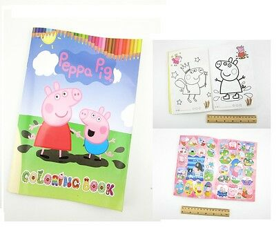 Peppa Pig Coloring Book Party Gift Fun For Kids 13.5x20cm 16 Pages With Sticker
