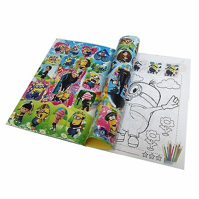 1 x Minions Coloring Book Party Gift Fun For Kids 13.5x20cm 16 Page With Sticker
