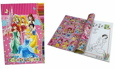 Disney Princess Coloring Book Party Gift For Kids 13.5x20cm 16 Page With Sticker