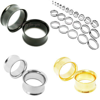 Flesh Tunnel Double Flared Stainless Steel Ear Plug Silver Gold Black 3 to 40mm