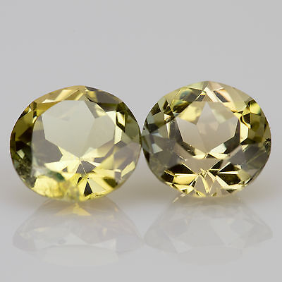 1.70 tcw Pair of Yellow Tanzanite Round cut 6.0mm Si1 Natural loose gemstones