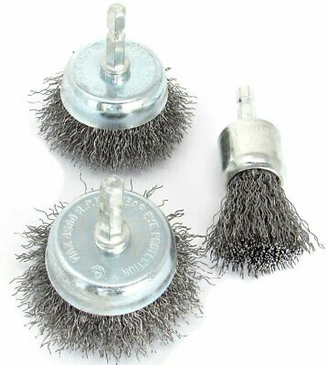 3pc Wire Brush Drill Attachments Set Wheel Cups End Brush Deburr Rust removal