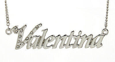 18K White Gold Plated Necklace With Name VALENTINA - Birthday Wedding Christmas
