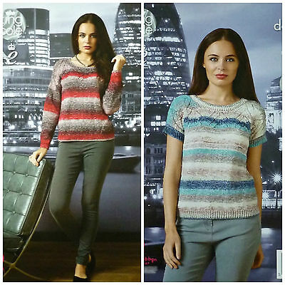 KNITTING PATTERN Ladies Easy Knit Long & Short Sleeve Jumper Shine DK KC 4378