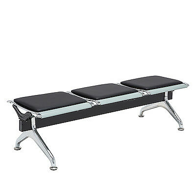 New PU Leather Barber Airport Reception Waiting Chair Office Room Bench 3-Seat