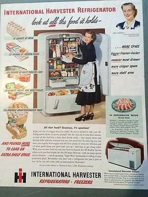 Vintage 1945  International Harvester Refrigerator Ad In Color Original