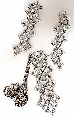 5.00ct diamonds earrings & necklace matching suite 18kt g/vs diamond shaped