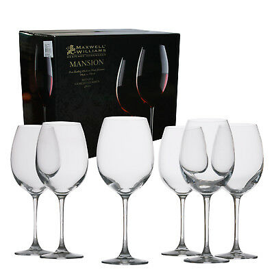 Maxwell & Williams Mansion Red Wine Goblet 480ml Glass Set of 6 Gift Boxed NEW