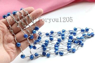 """5pieces wholesale 16.5"""" Genuine Natural 10mm Blue Baroque pearl Necklace #f2516!"""