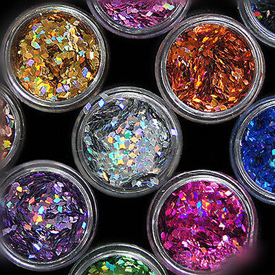 Nail Art Tips Stickers Acrylic 3D Glitter Sequins Manicure Decoration 12 Colors