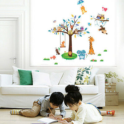 Owl And Squirrel Removable Vinyl Decal Wall Sticker Art Kids Nursery Room Decor