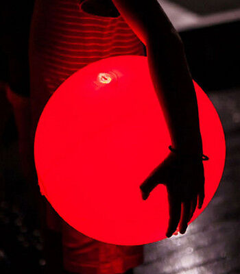 Light-up LED Shiny Beach PVC Ball for Night Pool Party Volley Korea (RED)