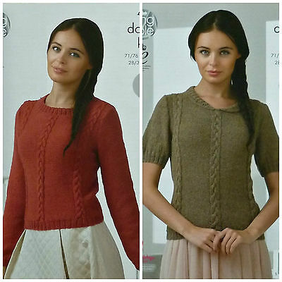 KNITTING PATTERN Ladies Easy Knit Long/Short Sleeve Cable Jumper Alpaca DK 4364