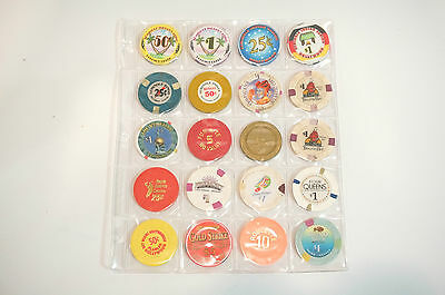 Casino Chip Collection - Set of 20 From Various Casinos