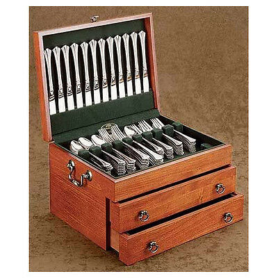 Reed & Barton Bristol Grande Cherry Silverware Chest with Forest Green Lining