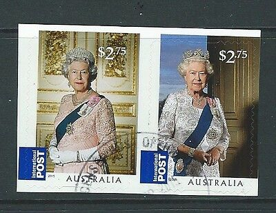 Australia 2015 Long May She Reign Self Adhesive Pair Fine Used