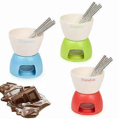 Ceramic Chocolate Or Cheese Fondue Set 4 Stainless Steel Forks Home Kitchen Gift