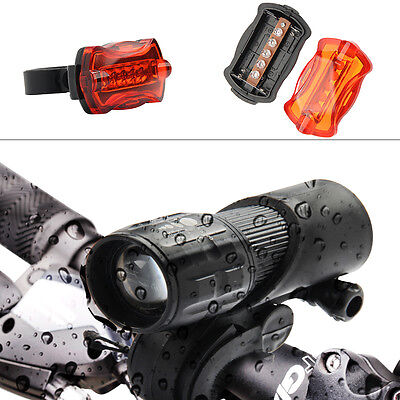 2X CREE Q5 LED Mountain Bike Bicycle Zoomable Torch Front Lights & Rear Lamp Set