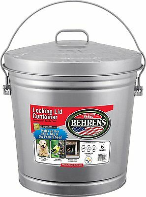 Behrens 6106 6-Gallon Locking Lid Can (Size: 6-Gallon) Weather resistant NEW