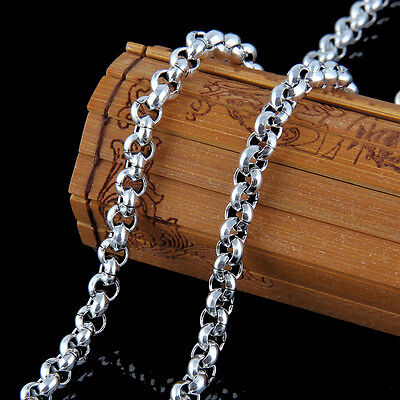 925 5mm Solid Sterling Silver Belcher Link Chain Necklace 20 22 24 26 28 32 Inch