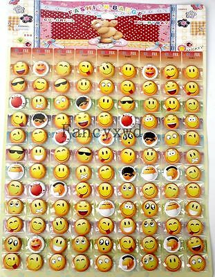 108pcs Hot Sale Badge Christmas Gifts Pin Badge 2.5cm Smile Face Kid's Prizes