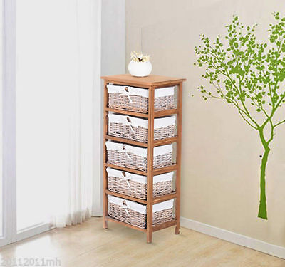 HOMCOM Compact Storage Unit 5 Wicker Baskets Removable Drawer Cabinet Organizer