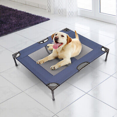 "36"" x 30"" Elevated Dog Cat Bed Pet Cot Cooling Cozy Camping Sleeper Blue"